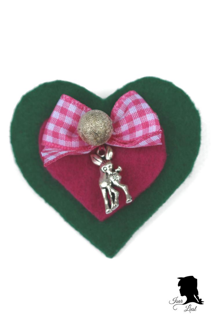 Isar Liesl Herzerl Brosche Grün Pink Reh